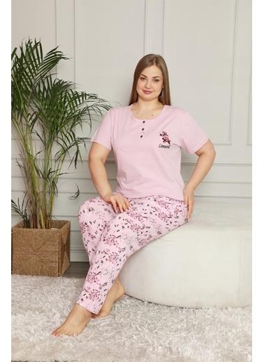 Akbeniz Kadın %100 Pamuk Cepli Kısa Kol Büyük Beden Pijama Takım 202070 Pembe